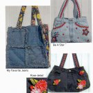 Oceanlake Designs Pattern Denim Chic Uncut Bags from Old Jeans