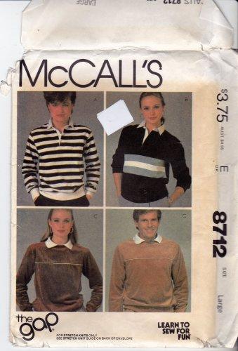 McCall's Pattern 8712 Uncut Large 40 42 Men Women Unisex Vintage 1980s the Gap