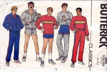 Butterick Pattern 6893 Uncut Large XL Men Athletic Sweat Pants Short Shorts Hoodie