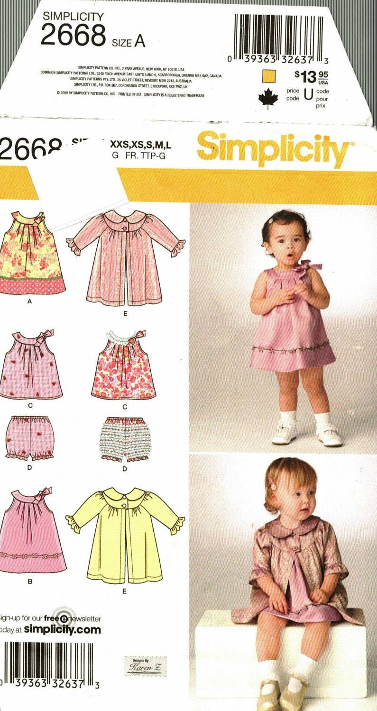 Simplicity 2668 Pattern uncut Baby Infant Dress Top Panties Coat Karen Z