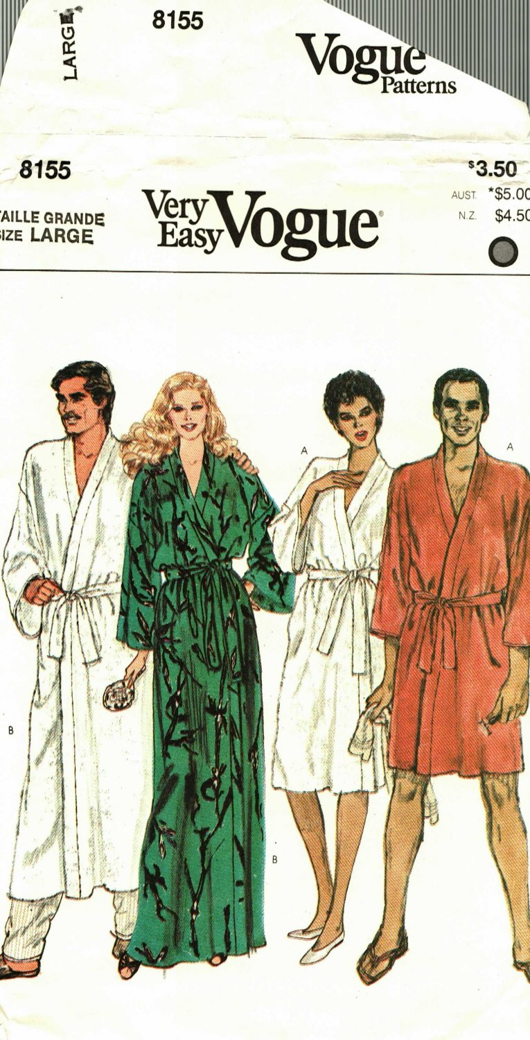 Vogue 8155 Large 42 44 Unisex Robe, may be missing pieces