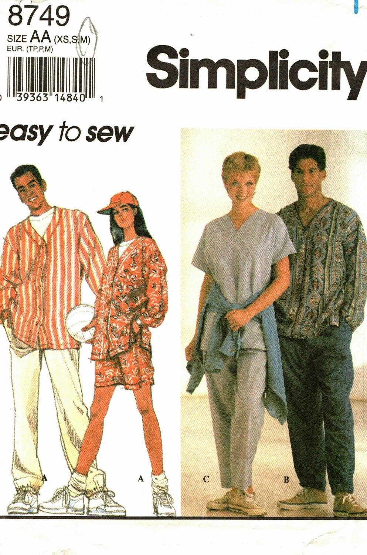Simplicity 8749 Medium 38 40 Unisex Shirt Pants Cap, may be missing pieces
