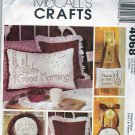 McCall's 4068 Pattern Uncut Redwork Embroidered Pillows Home Decor