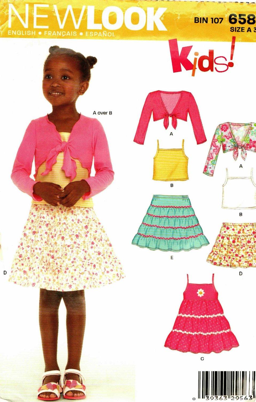 New Look 6582 Pattern uncut Toddlers Girls 3 4 5 6 7 8 Dress Tiered Skirt Bolero Tank