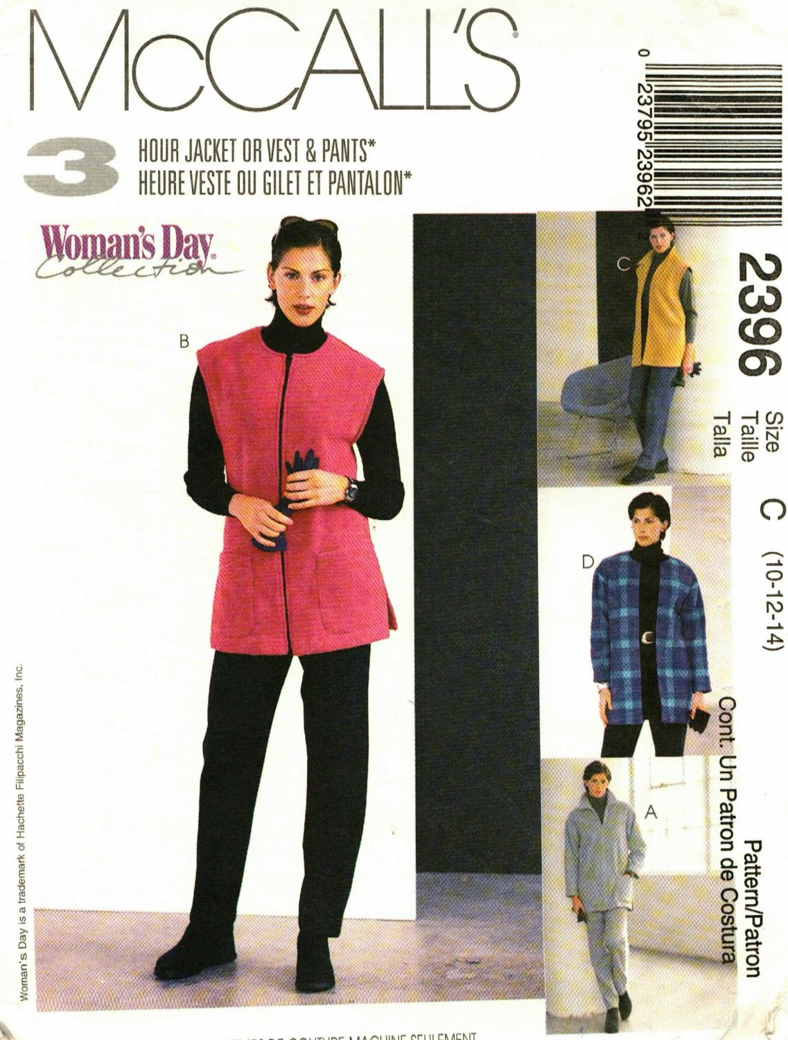 McCall's 2396 Pattern uncut 10 12 14 Fleece Jacket Vest Pants