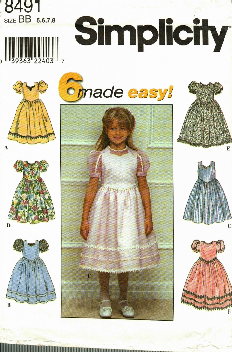 Simplicity 8491 Pattern uncut Girls 5 6 7 8 Party Dress Puff Sleeves Ruffles Lace