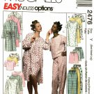 McCall's 2476 Pattern uncut Small Medium Large Pajamas Bath Robe Nightgown Sleepwear