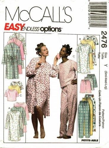 13ea93bea36 McCall's 2476 Pattern uncut Small Medium Large Pajamas Bath Robe ...