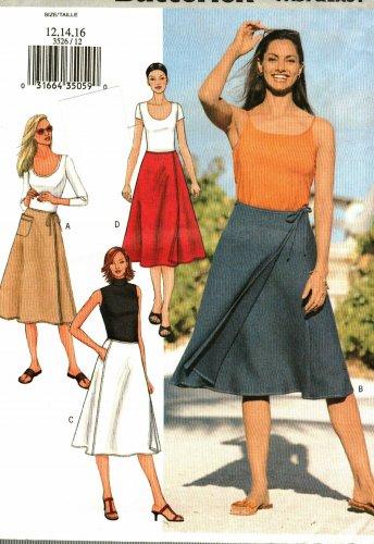 2013fe1f052 Butterick 3526 Pattern uncut 12 14 16 Flared Front Wrap Skirt