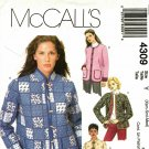 McCall's 4309 Pattern uncut XS S M Lined Box-Style Jacket Patch Pockets