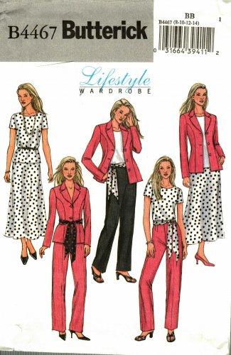 Butterick 4467 Pattern uncut 8 10 12 14 Lifestyle Wardrobe Jacket Top Skirt Pants Sash