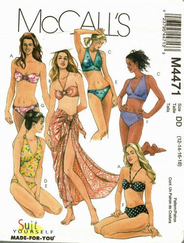 McCall's M4471 Pattern uncut 12 14 16 18 Two Piece Bathing Suit Bikini Swimsuit Pareo