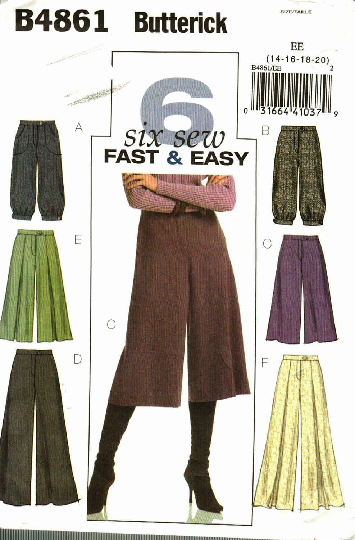 Butterick B4861 Pattern uncut 14 16 18 20 Pants Gauchos Straight Leg or Wide Leg