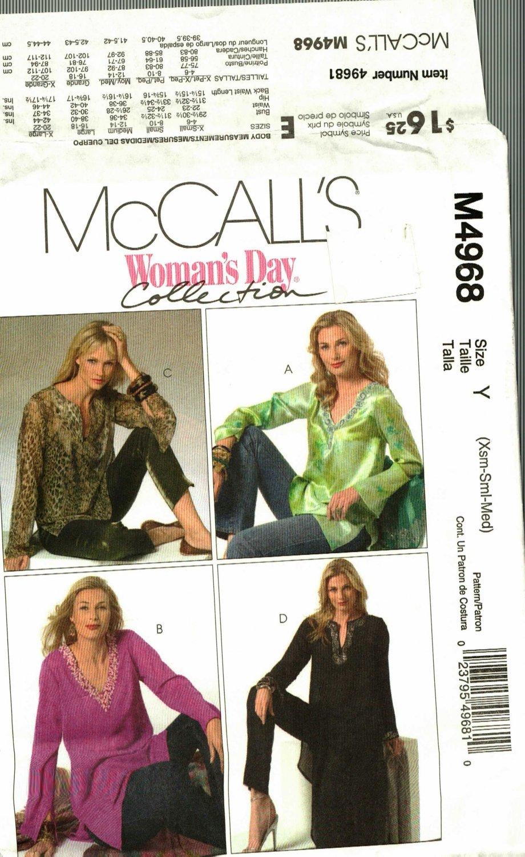 McCall's M4968 Pattern uncut XS S M Tunics in Three Lengths