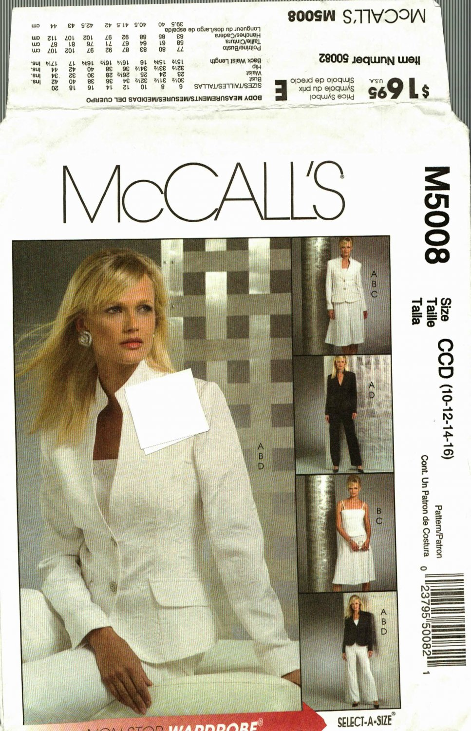 McCall's M5008 Pattern uncut 10 12 14 16 Lined Jacket Top Skirt Pants Wardrobe