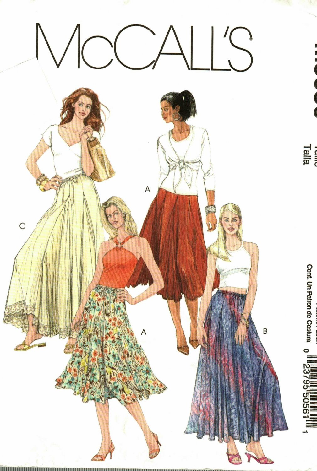 McCall's M5056 Pattern uncut XS S M Flared Skirt with Godets in 2 Lengths Boho