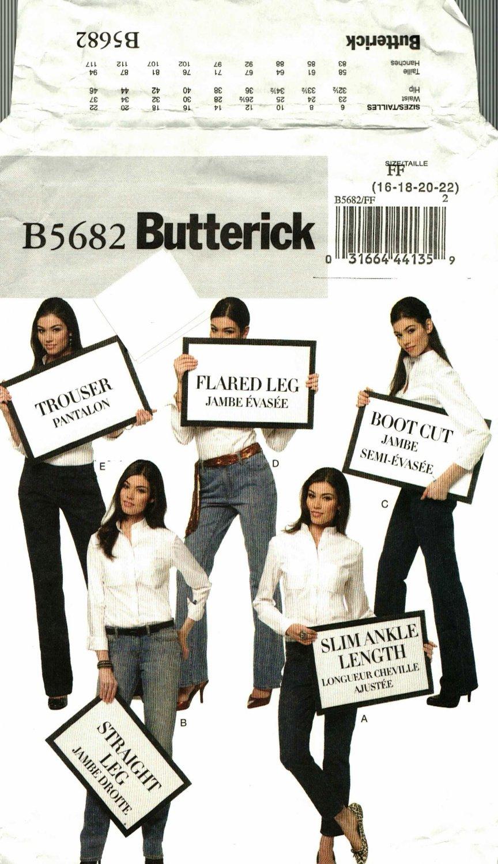 Butterick B5682 Pattern uncut 16 18 20 22 Jeans Boot Cut Flared Trouser Straight Skinny