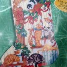 Cats on the Staircase Counted Cross Stitch Christmas Stocking Kit