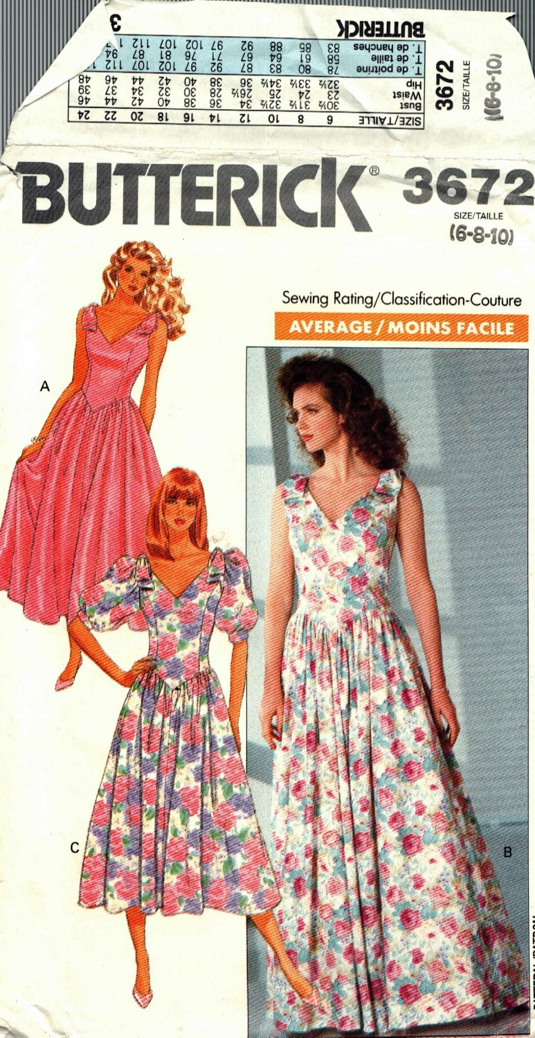 Butterick 3672 Pattern uncut 6 8 10 Dress Shaped Bodice Flared Skirt Vintage 1980s