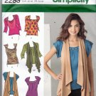 Simplicity 2283 Pattern uncut 6 8 10 12 14 Knit Tops Vests Jewels Tucks Drape Front