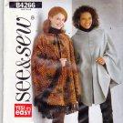 Butterick See & Sew B4266 Pattern uncut L XL 16 18 20 22 Poncho Yarn Fringe Hood