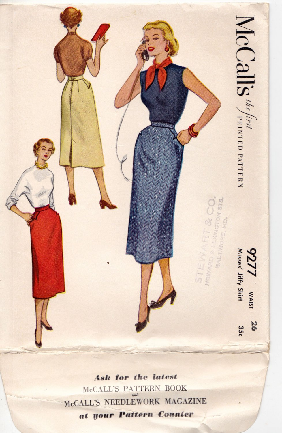 McCall's 9277 waist 26 Jiffy Skirt Back Zip Vintage 1950s Cut, Complete