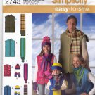 Simplicity 2743 Pattern uncut Kids XS - L, Adults XS - XL Fleece Vest Hat Scarf Mittens