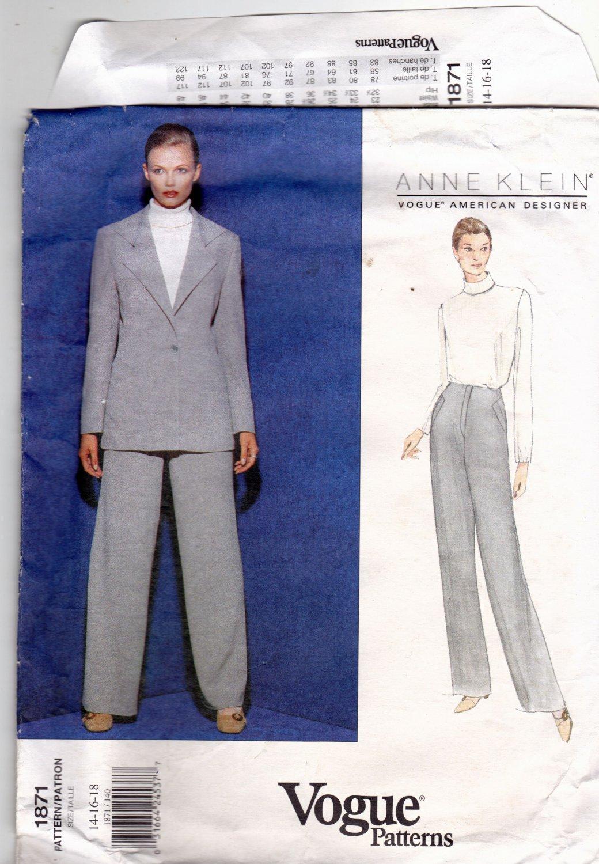 Vogue 1871 Pattern uncut 14 16 18 Loose Fit Pant Suit Anne Klein