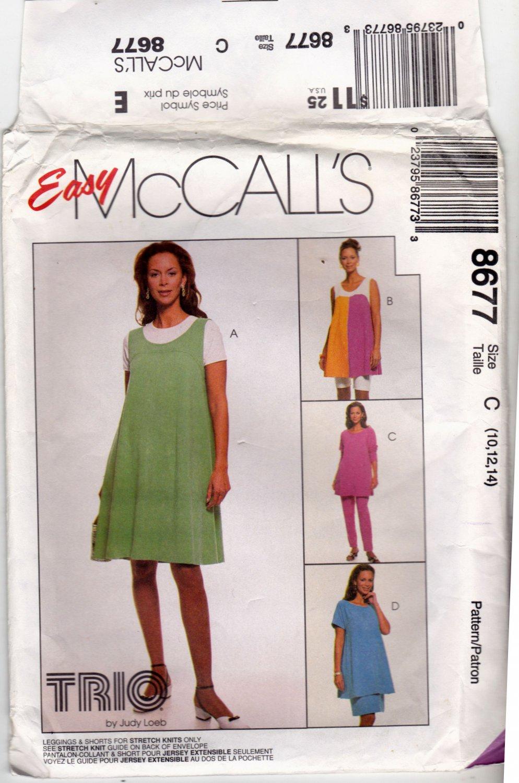 McCall's 8677 Pattern uncut 10 12 14 Maternity Wardrobe Jumper Top Skirt Leggings Shorts
