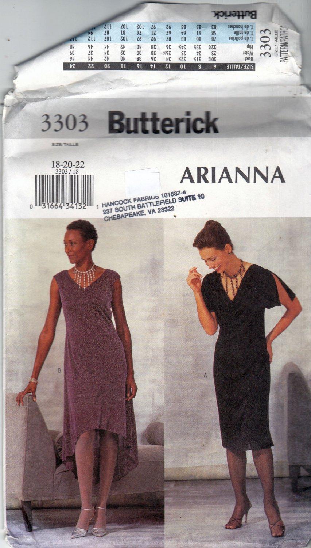 Butterick 3303 Pattern uncut 18 20 22 A-line dress High Low Hem Sleeveless or Slit Flutter Sleeves