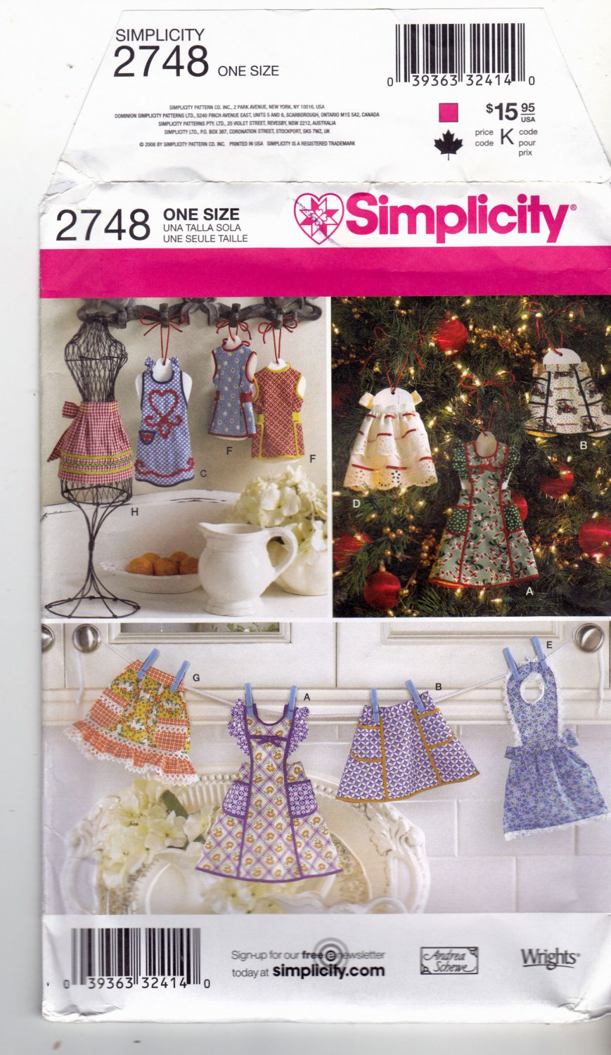 Simplicity 2748 Pattern uncut Apron Ornaments for Christmas or Decor Andrea Schewe