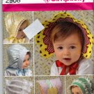 Simplicity 2908 Pattern uncut Bonnets Hats Babies Infants Toddlers
