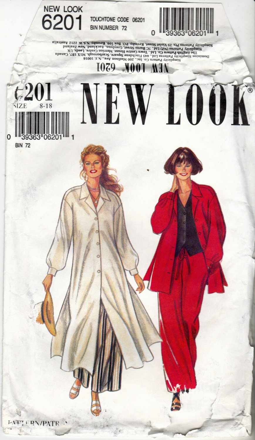 New Look 6201 Pattern 8 10 12 14 16 18 Shirt in 2 Lengths Vest Pants