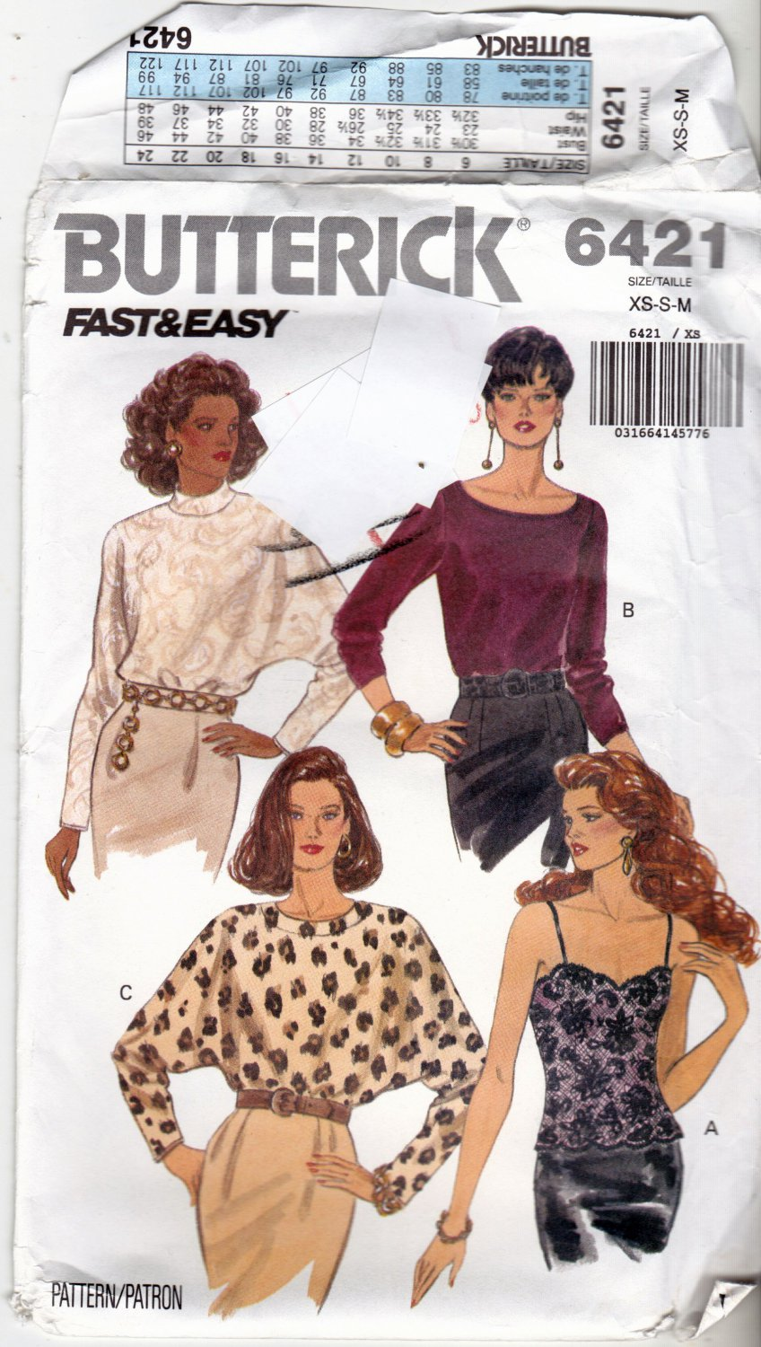 Butterick 6421 Pattern uncut XS S M Camisole Long Sleeve Tops Fitted or Loose Fitting