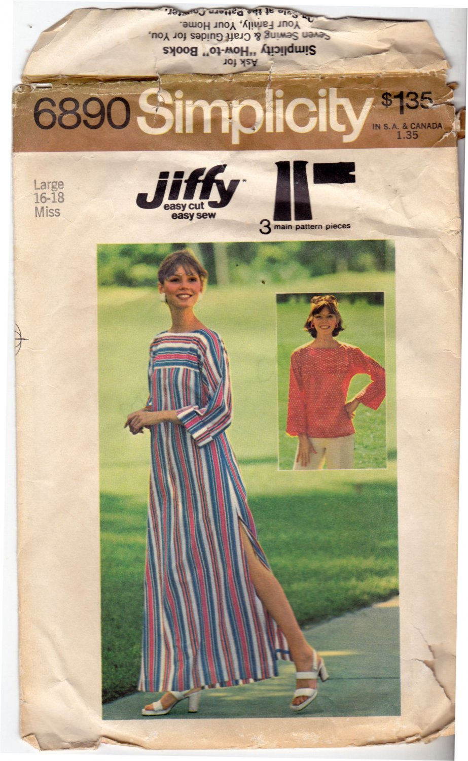 Simplicity Jiffy 6890 Pattern Large 16 18 Bust 38 40 Caftan or Top Cut, Complete Vintage 1970s