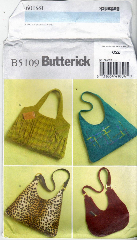 Butterick B5109 Pattern uncut Large Handbag Purse Shoulder Bag