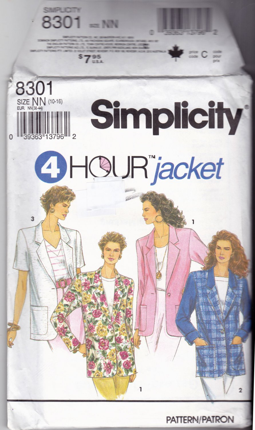 Simplicity 8301 Pattern 10 12 14 16 Lined or Unlined Boxy Jacket Vintage 1990s