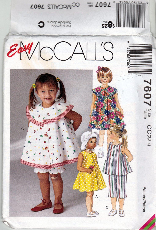 McCall's 7607 Pattern uncut Toddlers 2 3 4 Dress Top Pants Panties Bloomers