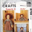 McCall's 8708 Sewing Pattern Raggedy Ann and Andy Draft Stoppers Door Stop