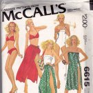 McCall's 6615 Pattern 8 10 12 Swimwear Tank Swimsuit Bikini Skirt Coverup Bag Vintage 1970s