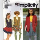 Simplicity 8005 Pattern uncut Girls 12 14 Pleated Skirt Lined Vest Unlined Jacket