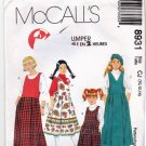McCall's 8931 Pattern uncut Girls 10 12 14 Drop Waist Jumper with Pleated Skirt and pockets