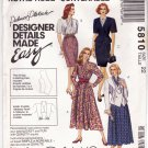 McCall's 5810 Pattern uncut 22 Lined Jacket Dresses Palmer + Pletsch