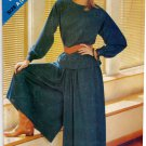 Butterick See & Sew 5091 Pattern uncut 8-16 Long Sleeve Top Button Cuffs Dropped Shoulders Culottes