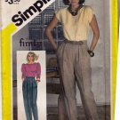 Simplicity 5830 Ricki for Finity Pattern 10 uncut Pleated Pants Vintage 1980s