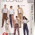 McCall's Pattern 7684 Men Women L XL Pull On Pants Pockets Loose Fit Low Crotch Hip 40-46