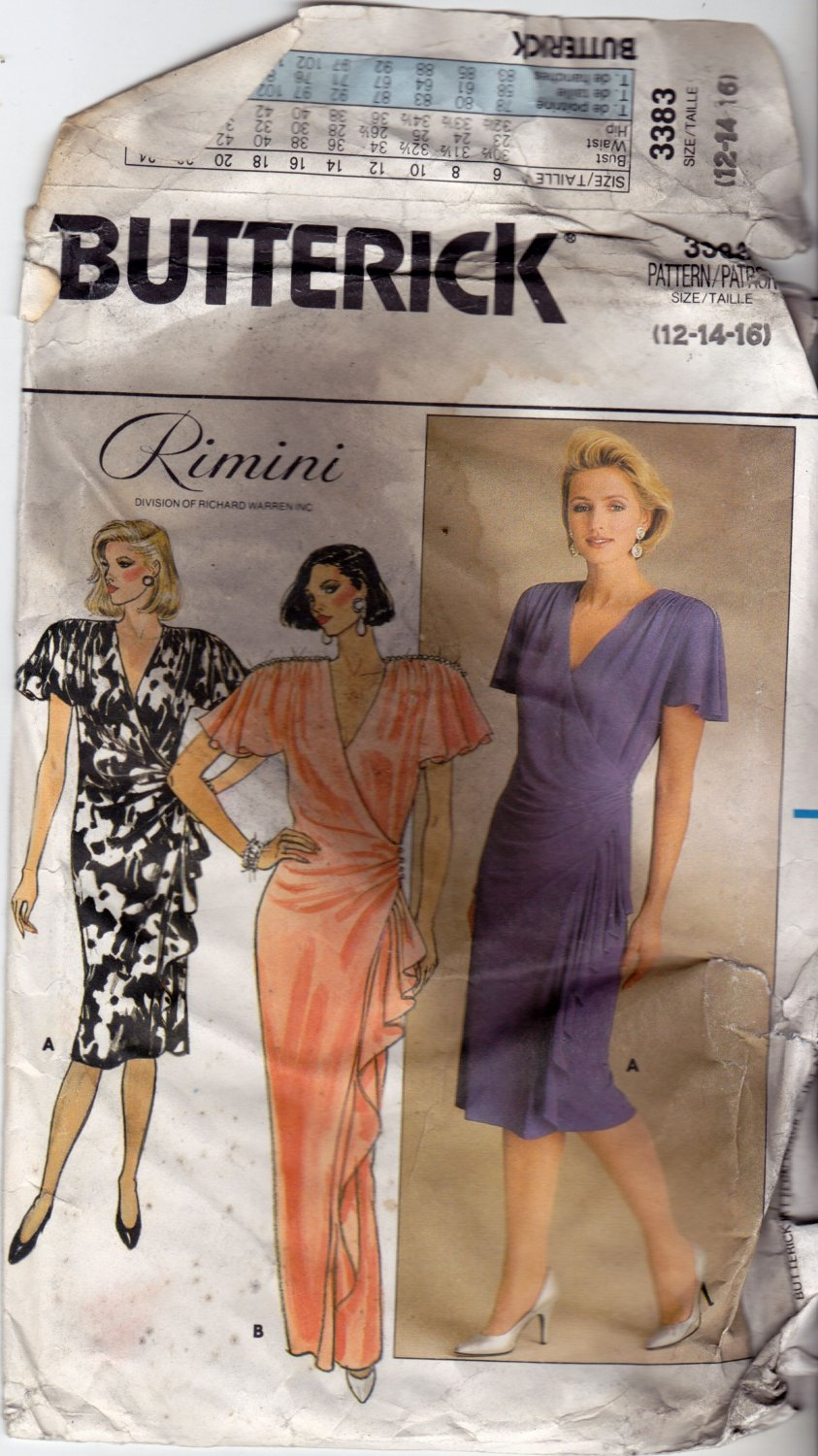 Butterick 3383 Pattern uncut 12 14 16 Wrap Dress Side Front Ruffle Rimini