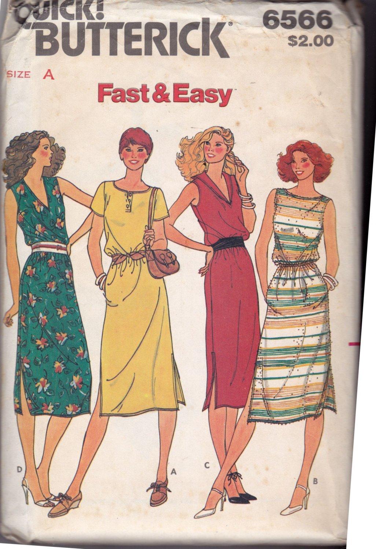 Butterick 6566 Pattern uncut 8 10 12 Loose Fit Dress Elasticized Waist Sleeveless Short Sleeves