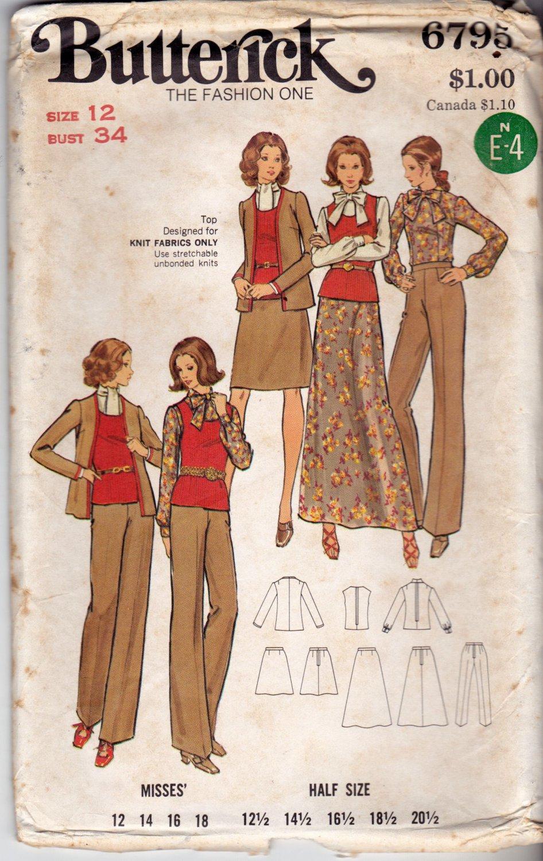 Butterick 6795 Pattern uncut 12 Jacket Pants Skirt Top Blouse 1960s