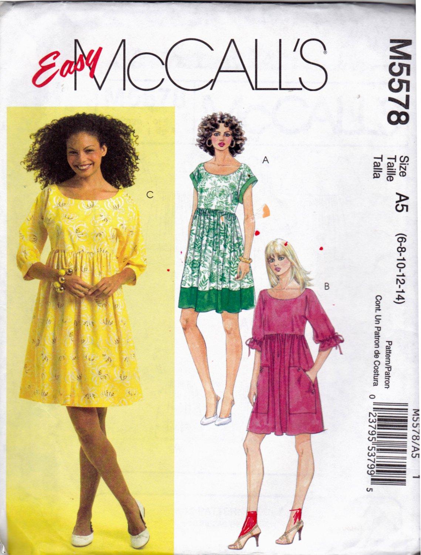 McCall's M5578 Pattern uncut 6 8 10 12 14 Loose Fit Dress Kimono Sleeves Huge Pockets